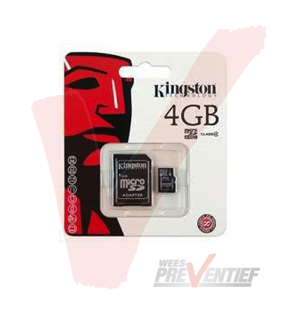 Kingston Micro SDHC Geheugenkaart 4GB Inclusief Adapter